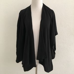 Eileen Fisher Black Silk Open Poncho Cardigan S